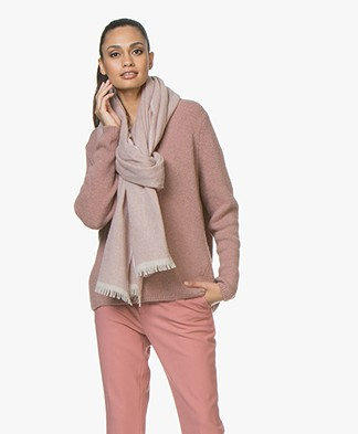 Closed Extra Long Scarf with Cashmere - Dusty Pink