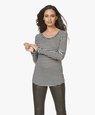 Closed Striped Long Sleeve with Cashmere - Black