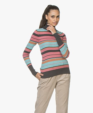 Plein Publique La Classe Silk Mix Turtleneck with Stripes - Grey/Pink/Blue