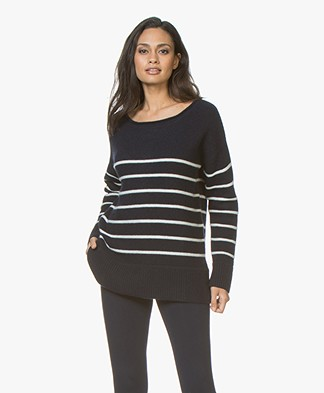 Plein Publique La Blonde Cashmere Striped Sweater - Navy