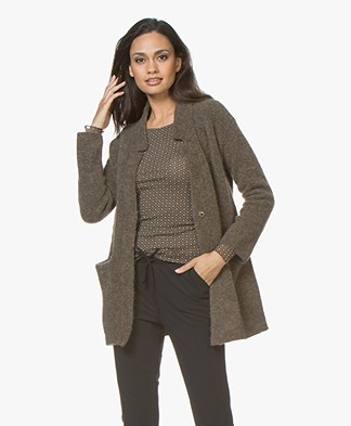 no man's land Blazer Cardigan in Mohair Blend - Armour