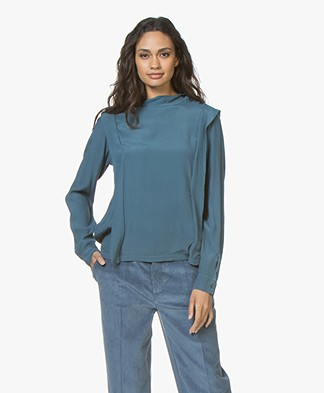 BY-BAR Mona Crêpe Viscose Blouse - Vintage Oil Blue