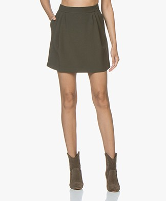 Filippa K Short Wollen Rok - Dark Olive
