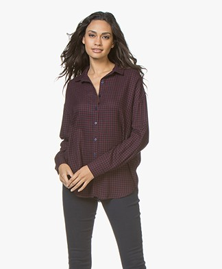 LEÏ 1984 Anatole Vertical Checkered Blouse - Burgundy/Navy