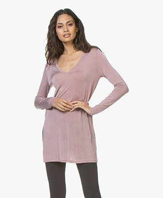 Majestic Filatures Cupro Jersey V-neck Long Sleeve - Bruyère
