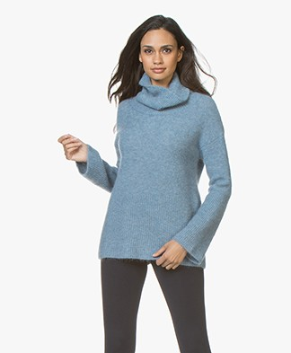no man's land Mohair Blend Sweater - Porcelain Blue