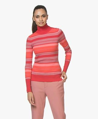 Plein Publique La Classe Silk Mix Turtleneck with Stripes - Red/Pink