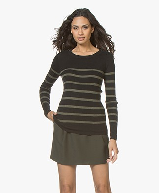 Plein Publique L'Elisa Striped Pullover with Silk - Army/Black