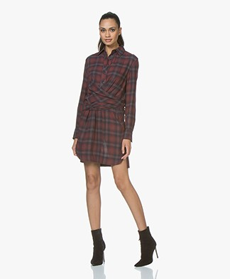 Rag & Bone Felicity Wool Blend Shirt Dress - Burgundy Multi