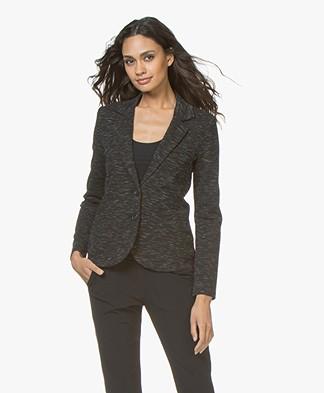 Repeat Knitted Melange Blazer - Black/Grey