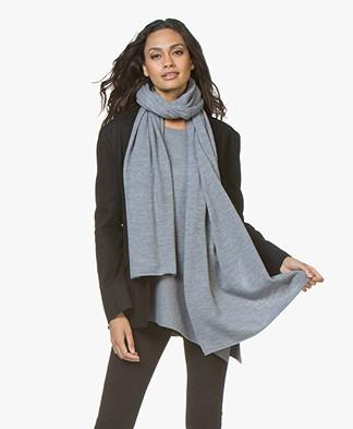 Repeat Merino Knitted Scarf - Medium Grey