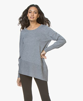 Repeat Merino Sweater with Asymmetric Hem - Medium Grey