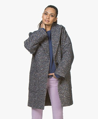 Zadig & Voltaire Mika Fantaisie Oversized Wool Coat - Mari Navy