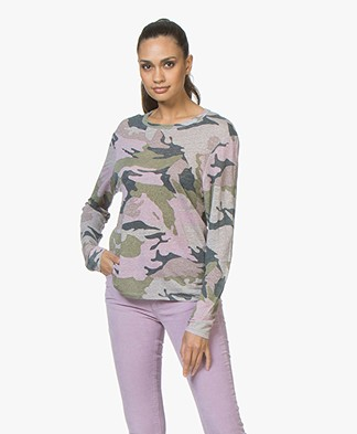 Zadig & Voltaire Willy Linen Camo Long Sleeve - Pink/Khaki/Blue