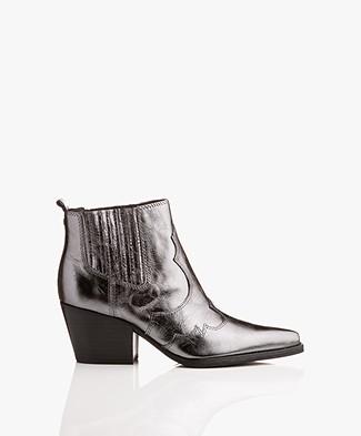 Sam Edelman Winona Western Ankle Boots - Anthracite Metallic