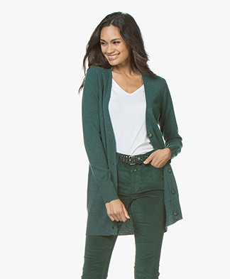 Repeat Fine Knitted Cashmere Cardigan - Forest