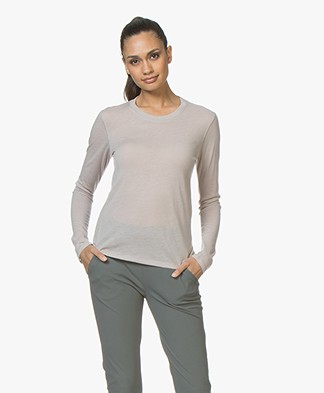 Majestic Filatures Elise Long Sleeve T-shirt in Cashmere - Greige