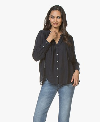 ba&sh Phil A-line Voile Blouse - Navy