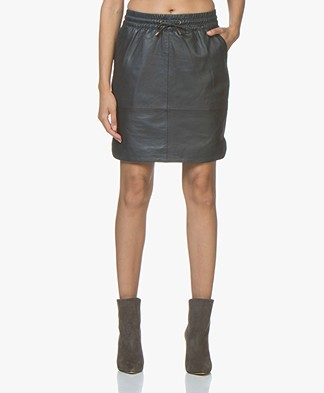 BY-BAR Sporty Leather Skirt - Navy