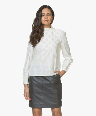 BY-BAR Gaby Cotton Blouse with Lace - Off-white