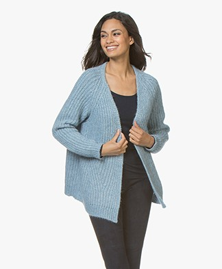 Drykorn Drena Chunky Knit Alpaca Open Cardigan - Light Blue