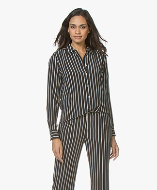 Equipment Essential Striped Silk Blouse - True Black