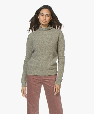 Majestic Pure Cashmere Turtleneck Sweater - New Army Melange