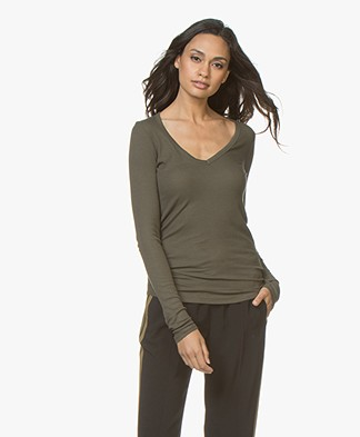 Majestic Rib Jersey V-neck Long Sleeve - Khaki