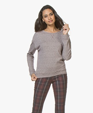 Majestic Tweed Look Cotton Blend Pullover - Burgundy/Milk