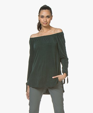 no man's land Cupro Off-shoulder Long Sleeve - Dark Emerald