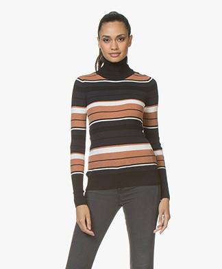 Plein Publique La Classe Silk Mix Turtleneck with Stripes - Black/Navy/Off-white/Rust