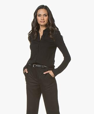 Rag & Bone Leyton Military Jersey Shirt - Black