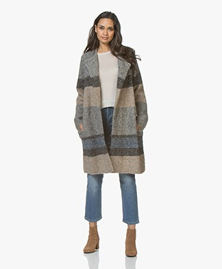 Repeat Open Boucle Cardigan in Wool Blend - Multi-color