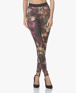 Kyra & Ko Emma Scuba Jersey Slim-fit Printed Pants - Prune