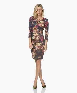 Kyra & Ko Isabella Scuba Jersey Printed Dress - Prune
