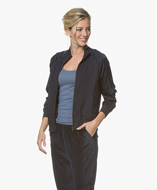 BRAEZ Joy Bomber Cardigan with Satin Sleeves - Navy