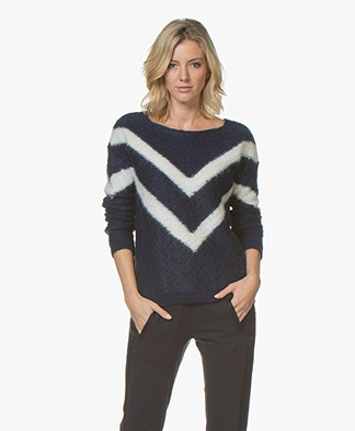 BY-BAR Venice Stripe Mohair Blend Jacquard Sweater - Blue