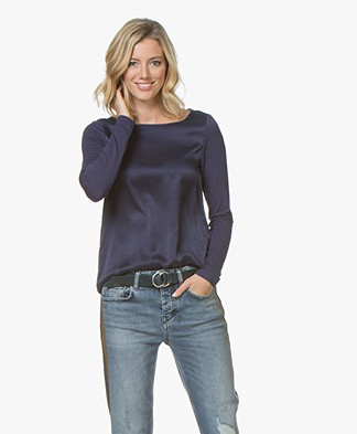 Kyra & Ko Amber Long Sleeve with Silk Front Panel - Prune
