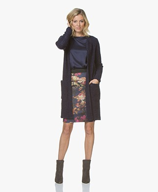 Kyra & Ko Emilia Half Long Boucle Cardigan - Prune