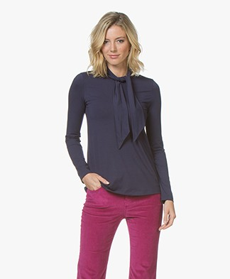 Kyra & Ko Lotte Jersey Tie Neck Long Sleeve - Prune