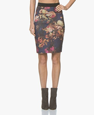 Kyra & Ko Taylor Scuba Jersey Printed Pencil Skirt - Prune