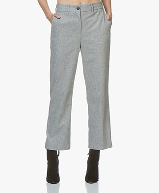Rag & Bone Libby Cropped Wool Blend Pants - Grey Melange