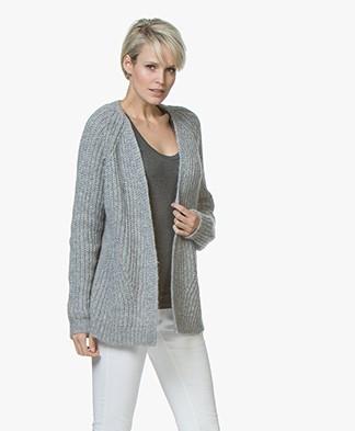 Drykorn Drena Chunky Knit Alpaca Open Cardigan - Light Grey