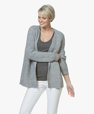 Drykorn Drena Chunky Knit Alpaca Open Cardigan - Light Grey
