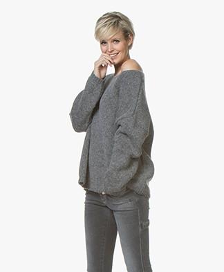 Sibin/Linnebjerg Nova Alpaca Blend Oversized Sweater - Dark Grey Melange