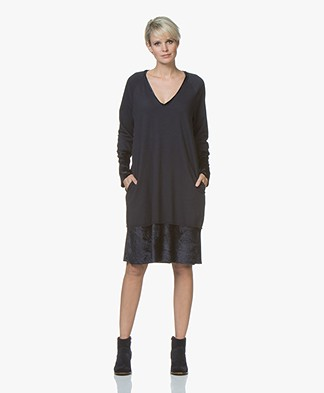 BRAEZ Sitara Sweater Dress with Velvet - Navy