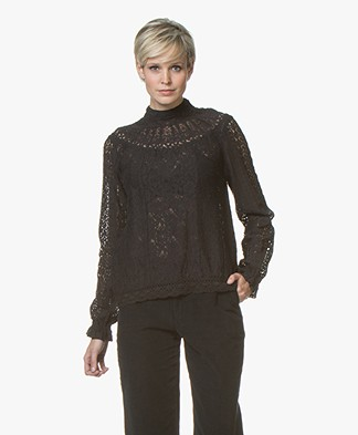 BY-BAR Charlie Lace Blouse Top - Black