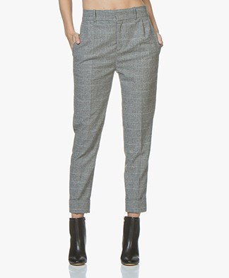 Drykorn Emom Wool Blend Cropped Pants - Light Grey Checkered