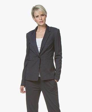 Drykorn Golders Jersey Pinstripe Blazer - Dark Blue