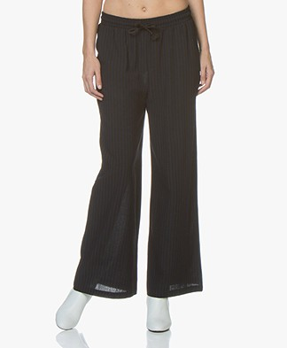 LEÏ 1984 Oscar Wide Leg Pants with Stripes - Black/Blue
